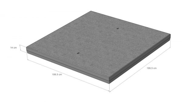 Betonplaat 15 ton 200x200x14cm