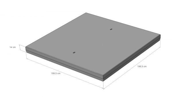 Betonplaat 16 Ton 200x200x14cm enkele wapening