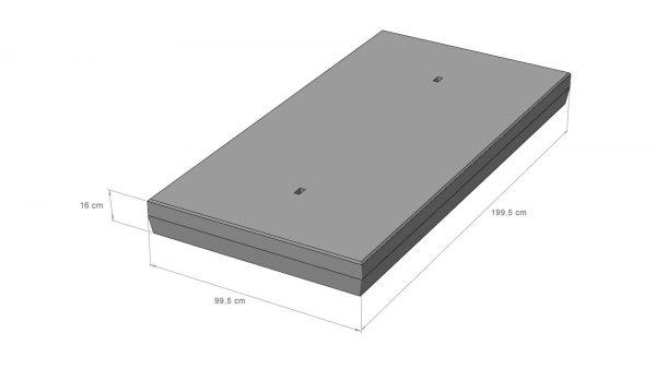Betonplaat 20 Ton 100x200x16cm enkele wapening