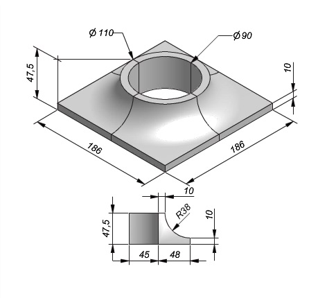 Boomrand 186x186x47,5cm 4-delig