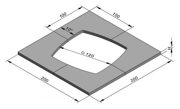 Boomrand 200x200cm 4-delig