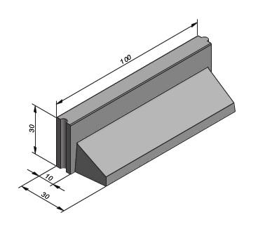 L-band 10-30x30x100cm met facet en hol-bol sluiting