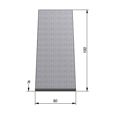 Projectband 47-50x20x50cm bochtelement middenstuk diepte 100cm