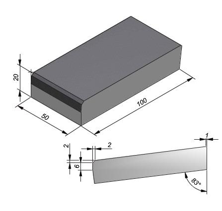 Projectband 47-50x20x50cm inritband midden diepte 100cm