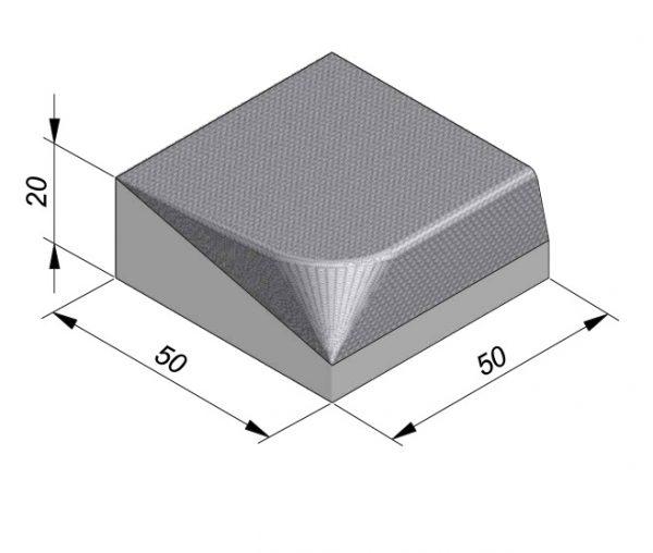 Projectband 47-50x20x50cm inritband rechts diepte 50cm
