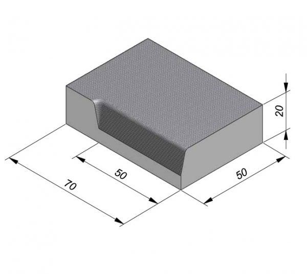 Projectband 47-50x20x70cm hoekstuk links inwendig diepte 50 cm