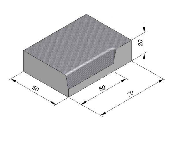 Projectband 47-50x20x70cm hoekstuk rechts inwendig diepte 50 cm
