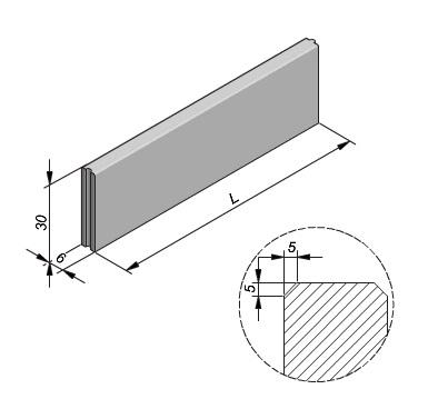 Projectband 6x30x100cm met facet en hol-bol sluiting